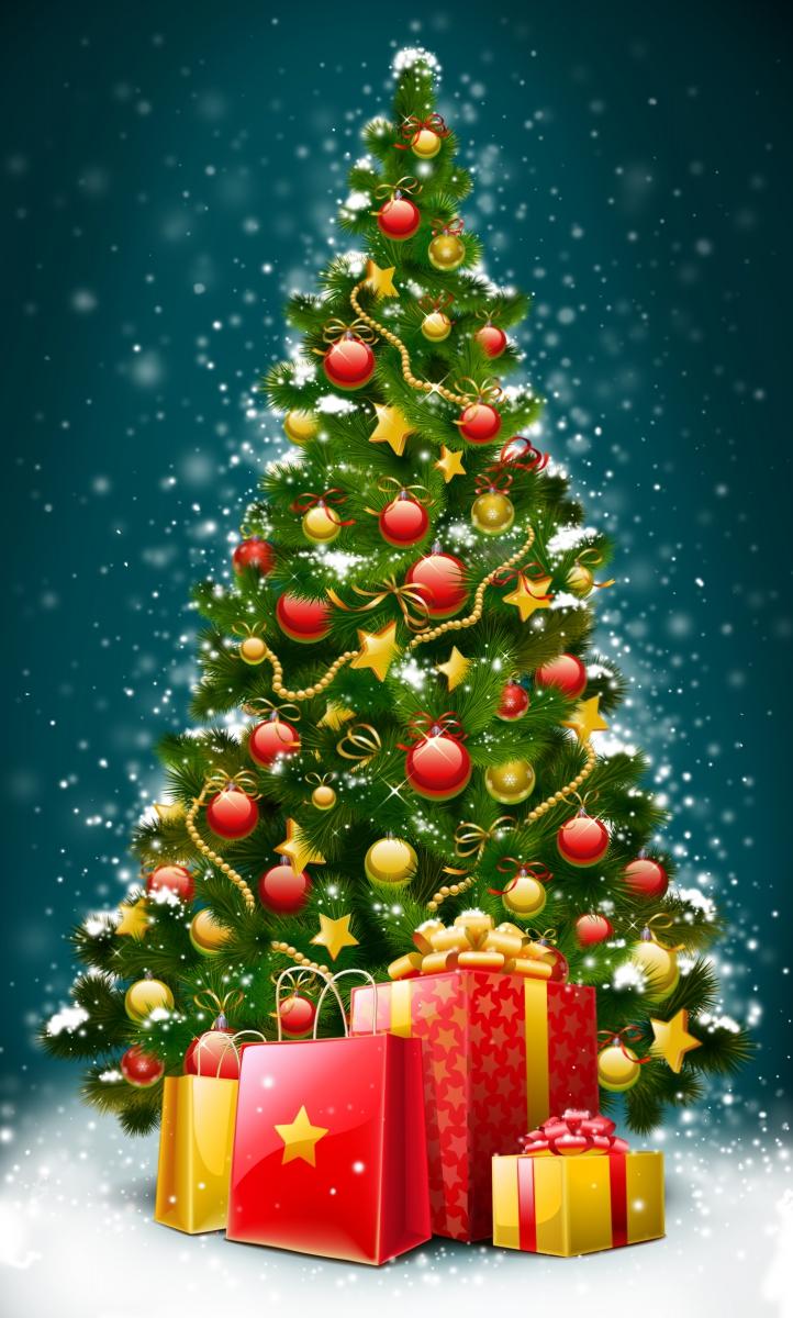 Новогодняя открытка елки